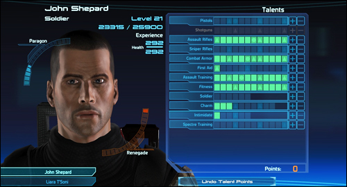 Mass Effect leveling system