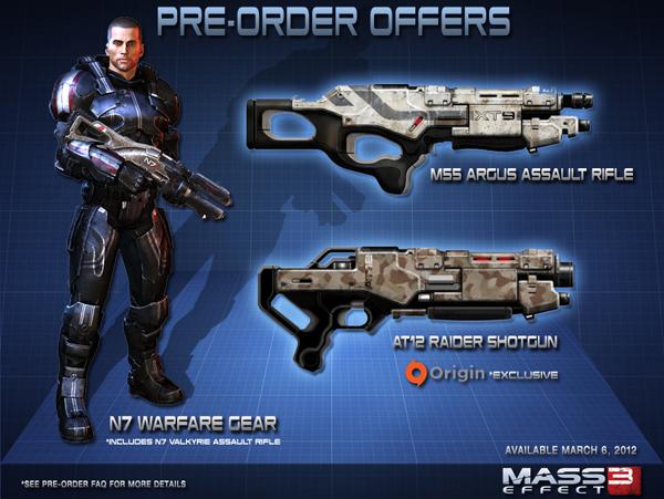 Бонусы предзаказа Mass Effect 3