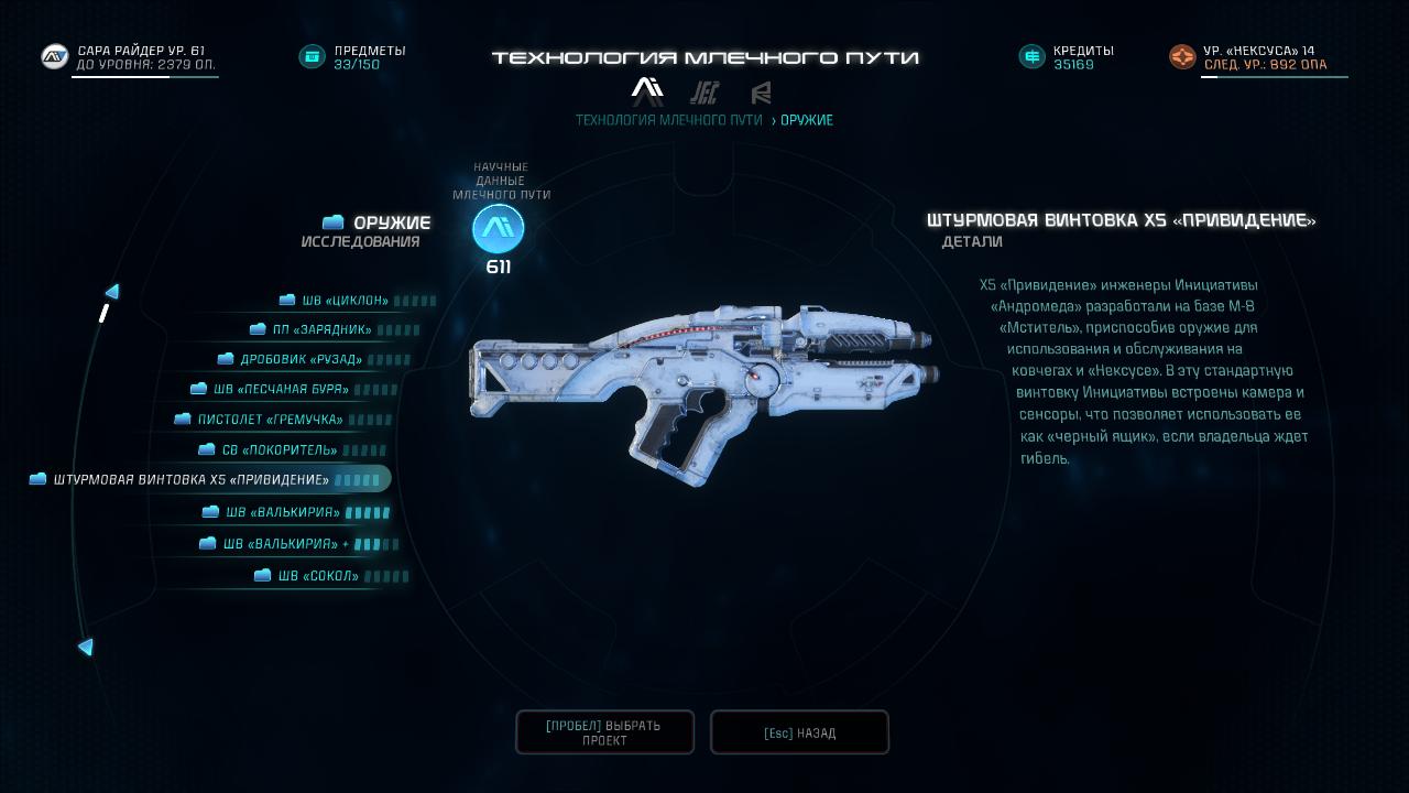 Mass Effect Andromeda X5 Ghost: Винтовка X5 «Привидение